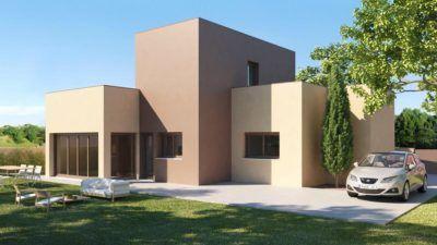 casa pasiva minimalista con jardin