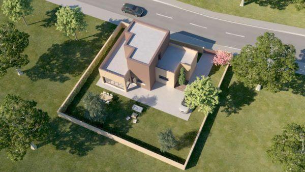 vista pajaro infografia 3d casa pasiva