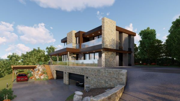 infografía casa pasiva dos pisos y garaje