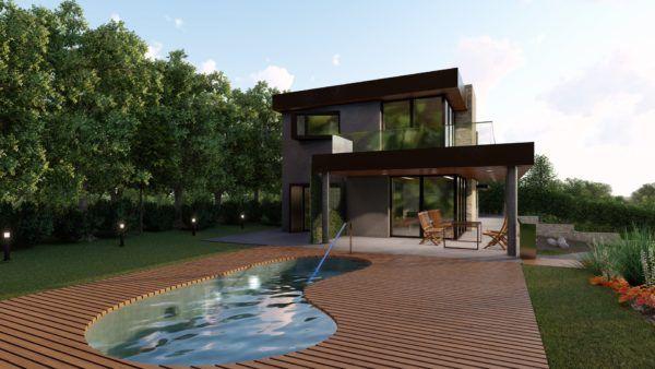 passive house con piscina curva