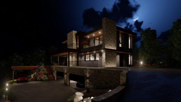 passive house con jardin de noche