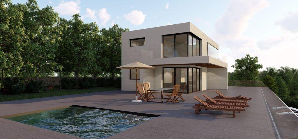 diseño passive house con piscina