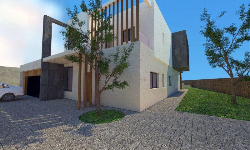 entrada casa pasiva diseño